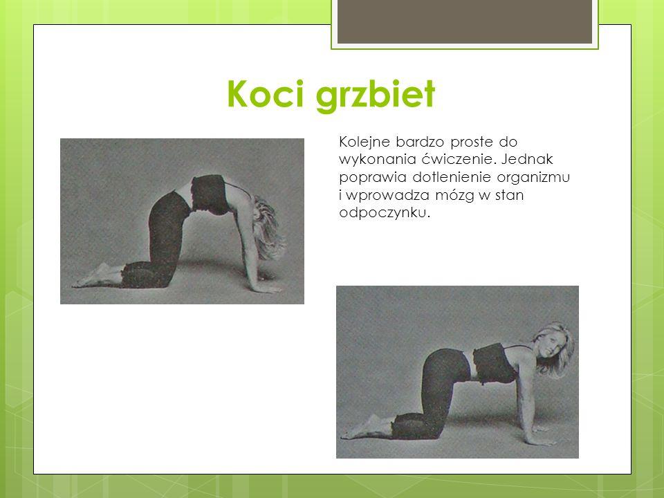 Koci grzbiet Kolejne bardzo proste do wykonania ćwiczenie. Jednak poprawia dotlenienie organizmu i wprowadza mózg w stan odpoczynku.