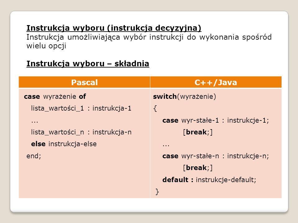 Instrukcja wyboru (instrukcja decyzyjna) Instrukcja umożliwiająca wybór instrukcji do wykonania spośród wielu opcji Instrukcja wyboru – składnia Pasca