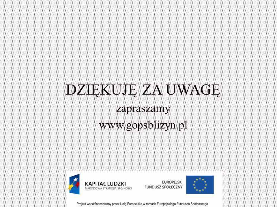 DZIĘKUJĘ ZA UWAGĘ zapraszamy www.gopsblizyn.pl