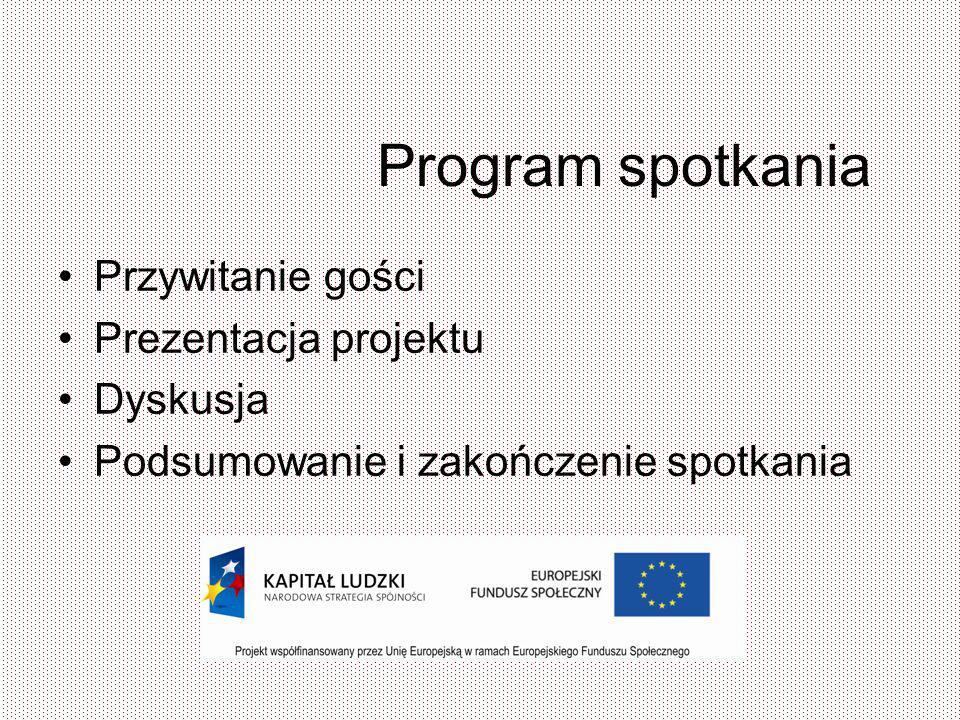 Program spotkania Przywitanie gości Prezentacja projektu Dyskusja Podsumowanie i zakończenie spotkania