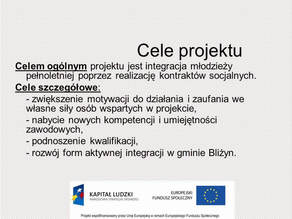 Grupy docelowe Projekt był skierowany do 10 beneficjentów w wieku 15-25 lat zameldowanych lub przebywających na terenie gminy Bliżyn, których są osobami bezrobotnymi bądź nieaktywnymi zawodowo.