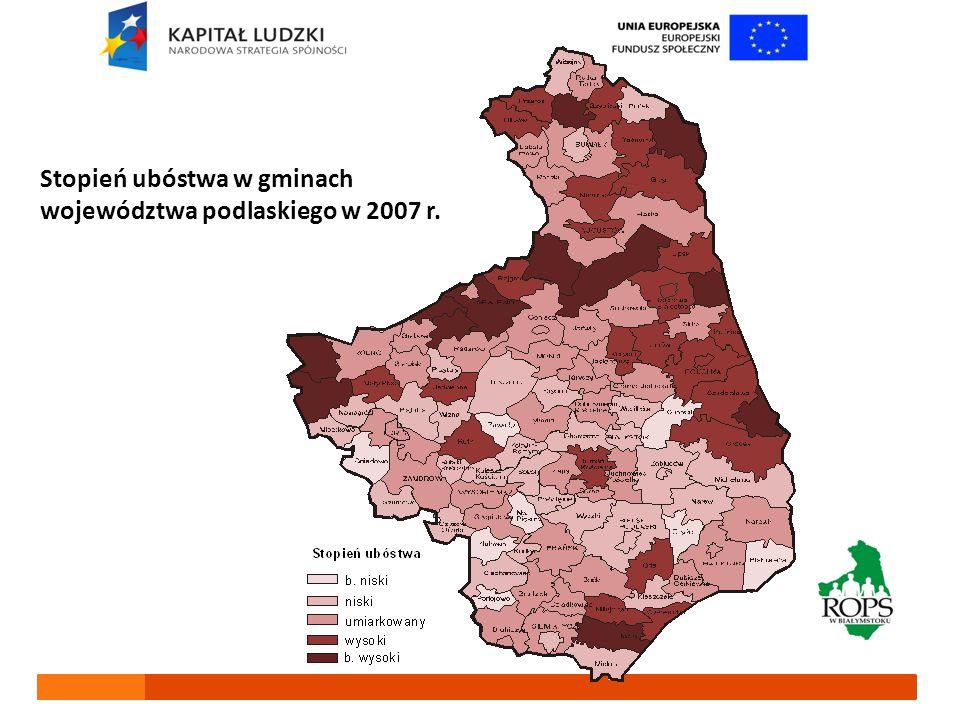 Stopień ubóstwa w gminach województwa podlaskiego w 2007 r.