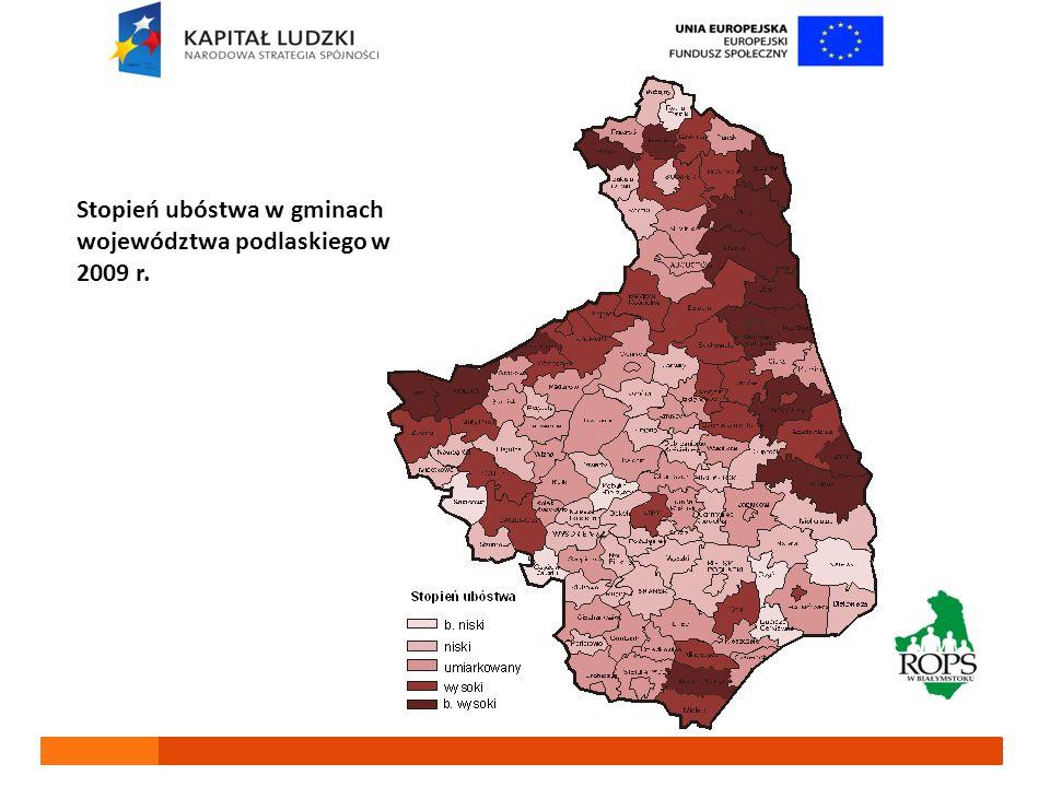 Stopień ubóstwa w gminach województwa podlaskiego w 2009 r.