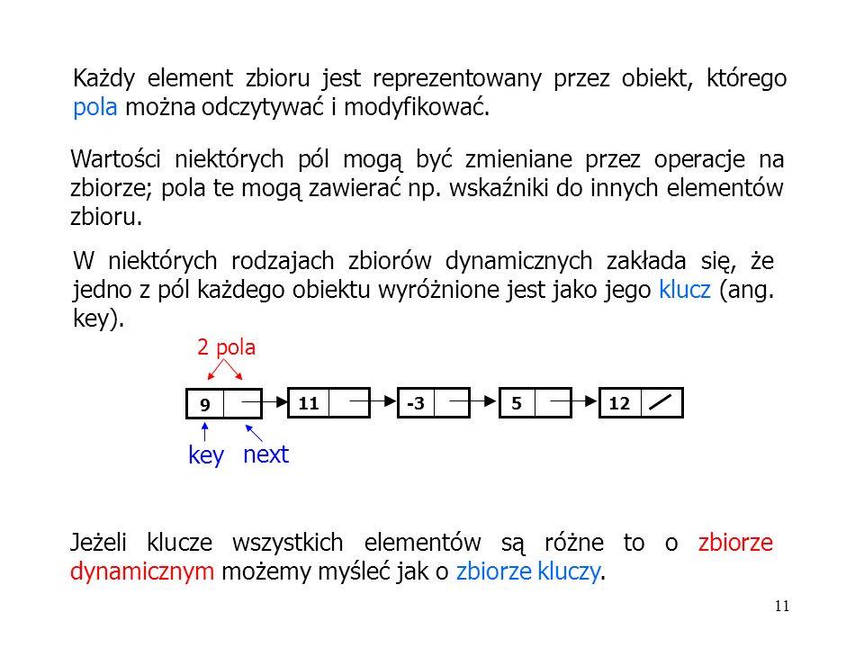 11 Każdy element zbioru jest reprezentowany przez obiekt, którego pola można odczytywać i modyfikować.