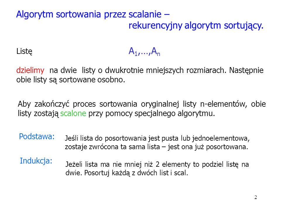 2 Algorytm sortowania przez scalanie – rekurencyjny algorytm sortujący.