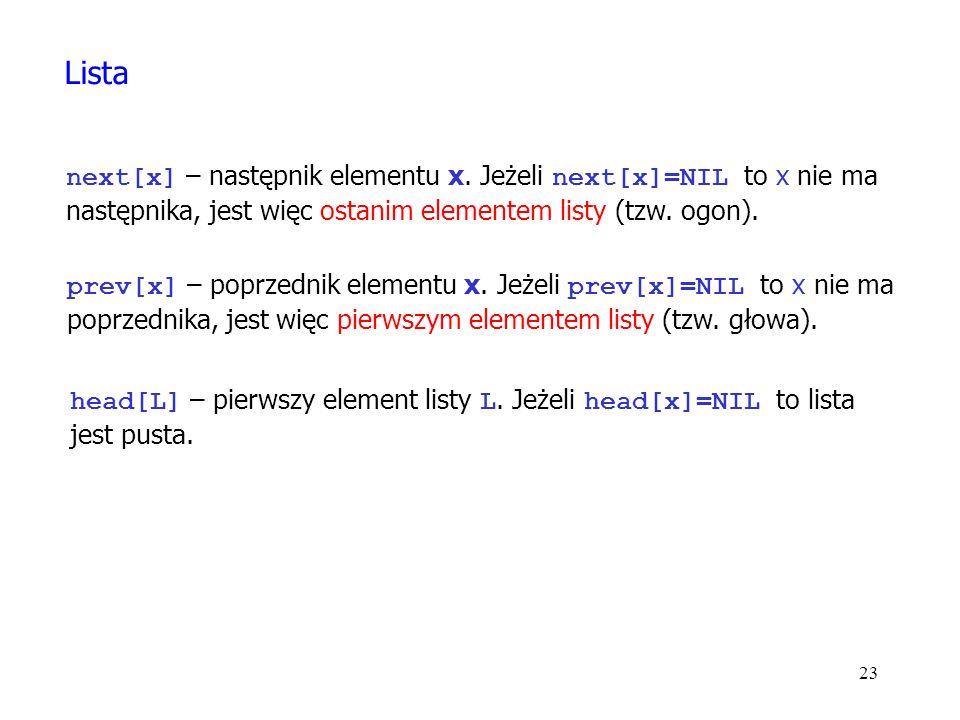 23 next[x] – następnik elementu x.