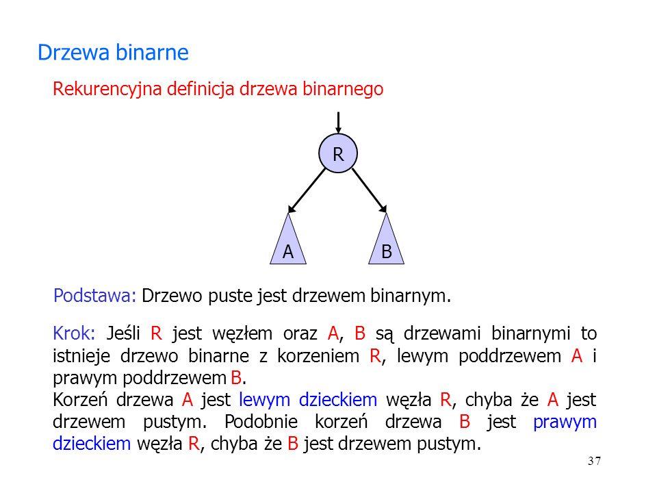 37 Drzewa binarne Krok: Jeśli R jest węzłem oraz A, B są drzewami binarnymi to istnieje drzewo binarne z korzeniem R, lewym poddrzewem A i prawym poddrzewem B.