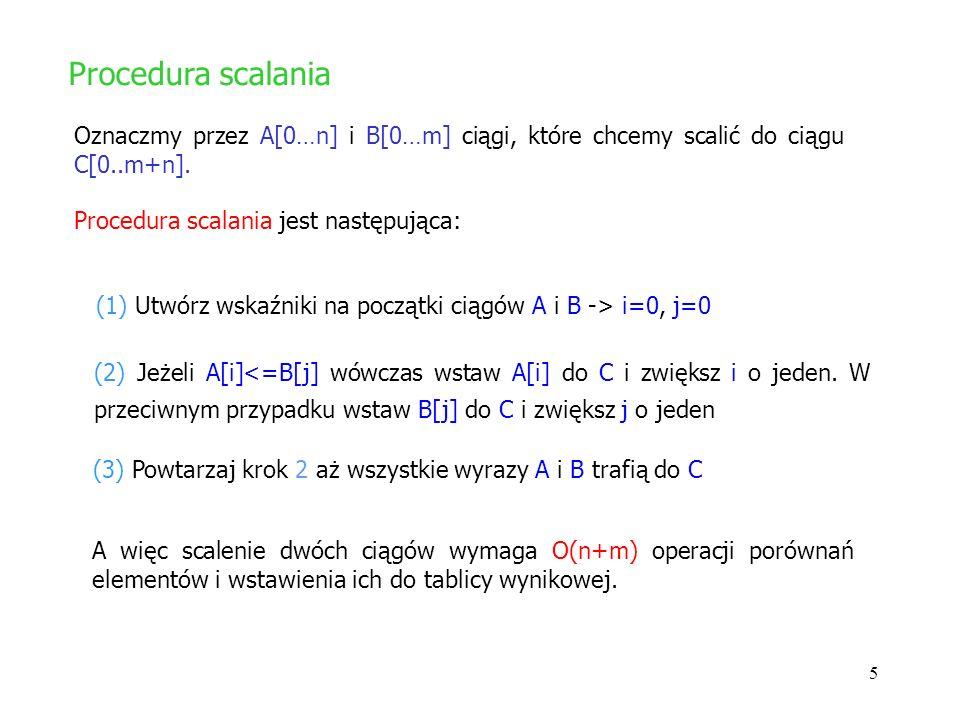 6 Można pokazać ze algorytm sortowania przez scalanie zachowuje się jak O(n log n) (przypomnijmy, że algorytm sortowania przez wybieranie zachowuje się jak O(n 2 ).