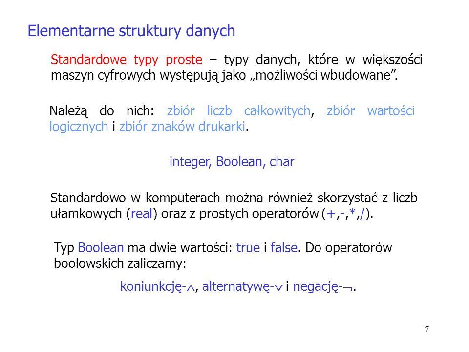 7 Elementarne struktury danych Standardowe typy proste – typy danych, które w większości maszyn cyfrowych występują jako możliwości wbudowane.