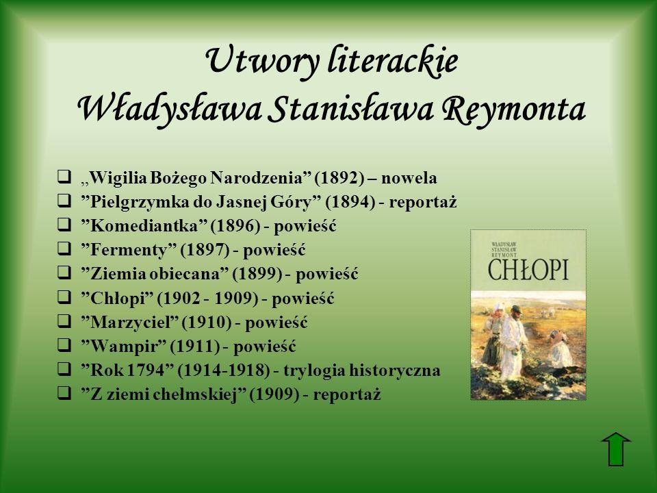 Utwory literackie Władysława Stanisława Reymonta Wigilia Bożego Narodzenia (1892) – nowela Pielgrzymka do Jasnej Góry (1894) - reportaż Komediantka (1