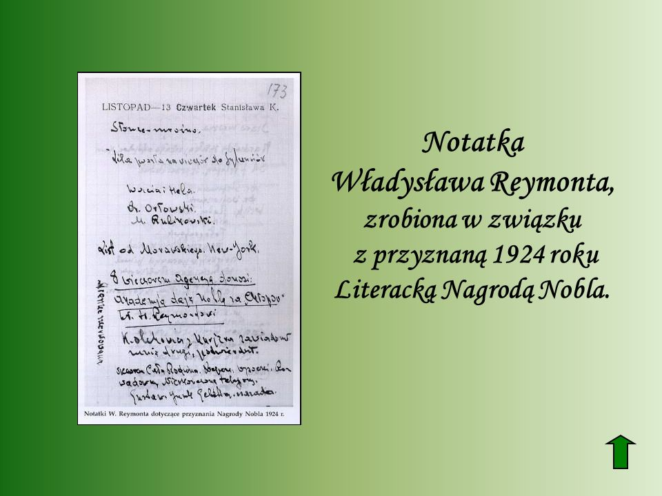 Notatka Władysława Reymonta, zrobiona w związku z przyznaną 1924 roku Literacką Nagrodą Nobla.