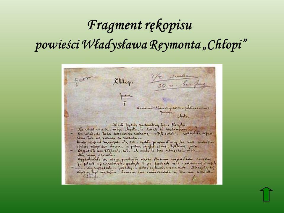 Fragment rękopisu powieści Władysława Reymonta Chłopi