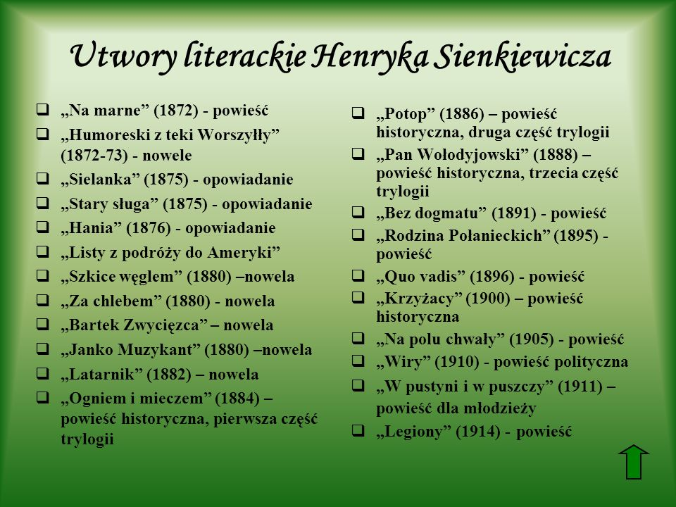 Utwory literackie Henryka Sienkiewicza Na marne (1872) - powieść Humoreski z teki Worszyłły (1872-73) - nowele Sielanka (1875) - opowiadanie Stary sługa (1875) - opowiadanie Hania (1876) - opowiadanie Listy z podróży do Ameryki Szkice węglem (1880) –nowela Za chlebem (1880) - nowela Bartek Zwycięzca – nowela Janko Muzykant (1880) –nowela Latarnik (1882) – nowela Ogniem i mieczem (1884) – powieść historyczna, pierwsza część trylogii Potop (1886) – powieść historyczna, druga część trylogii Pan Wołodyjowski (1888) – powieść historyczna, trzecia część trylogii Bez dogmatu (1891) - powieść Rodzina Połanieckich (1895) - powieść Quo vadis (1896) - powieść Krzyżacy (1900) – powieść historyczna Na polu chwały (1905) - powieść Wiry (1910) - powieść polityczna W pustyni i w puszczy (1911) – powieść dla młodzieży Legiony (1914) - powieść