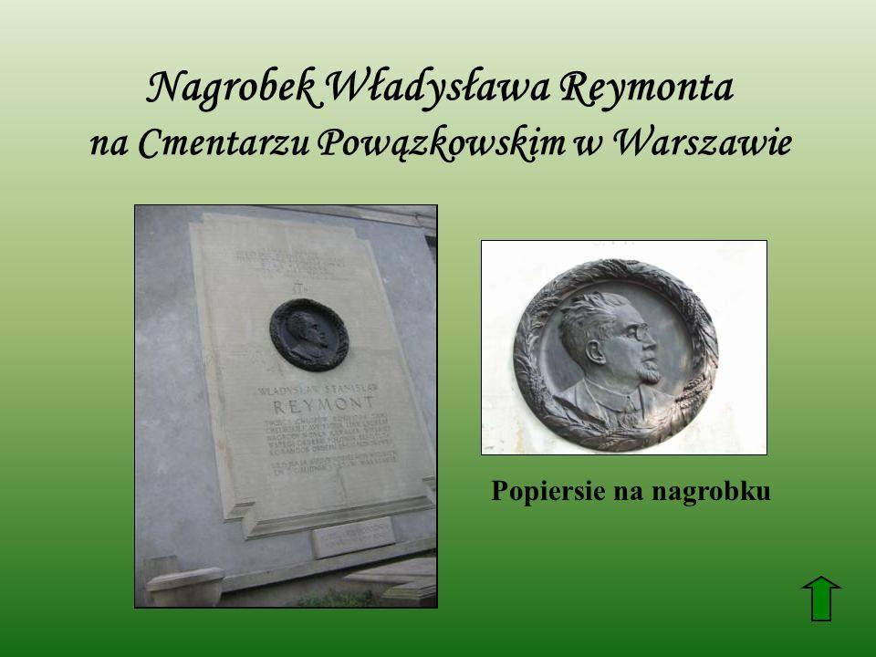 Nagrobek Władysława Reymonta na Cmentarzu Powązkowskim w Warszawie Popiersie na nagrobku