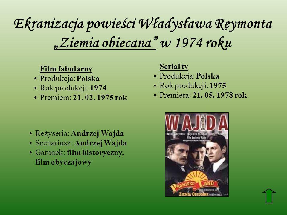 Ekranizacja powieści Władysława Reymonta Ziemia obiecana w 1974 roku Film fabularny Produkcja: Polska Rok produkcji: 1974 Premiera: 21. 02. 1975 rok S