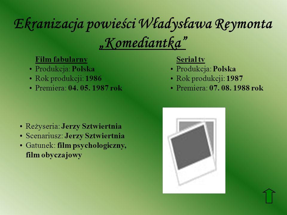 Ekranizacja powieści Władysława Reymonta Komediantka Film fabularny Produkcja: Polska Rok produkcji: 1986 Premiera: 04. 05. 1987 rok Serial tv Produkc