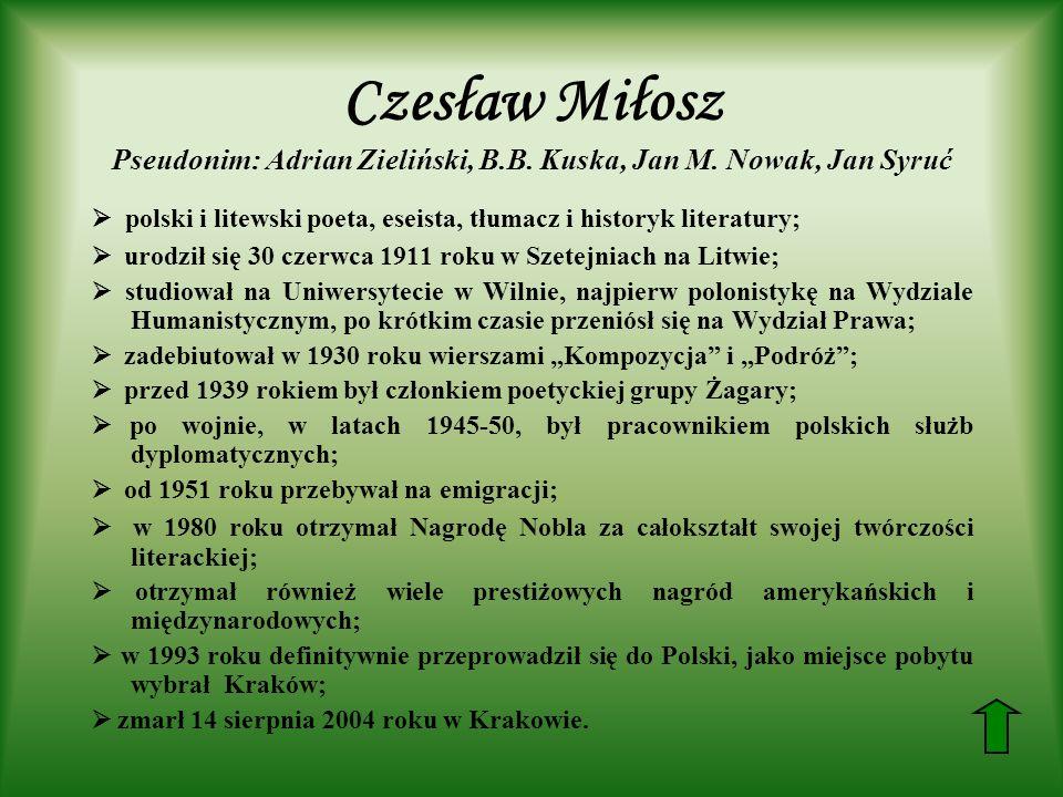 Czesław Miłosz Pseudonim: Adrian Zieliński, B.B. Kuska, Jan M. Nowak, Jan Syruć polski i litewski poeta, eseista, tłumacz i historyk literatury; urodz