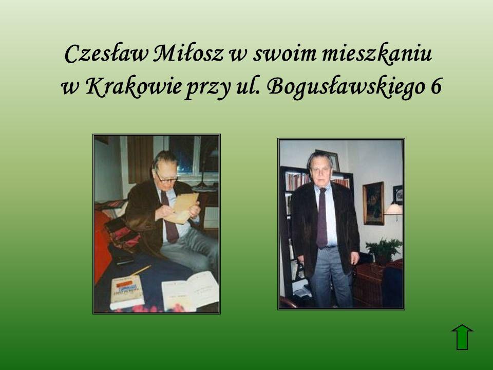 Czesław Miłosz w swoim mieszkaniu w Krakowie przy ul. Bogusławskiego 6