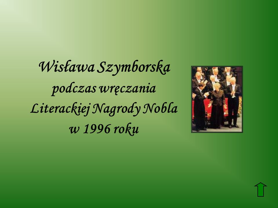 Wisława Szymborska podczas wręczania Literackiej Nagrody Nobla w 1996 roku