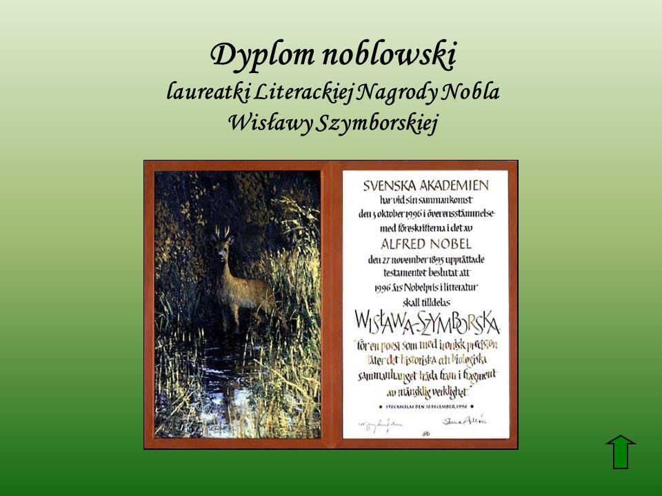Dyplom noblowski laureatki Literackiej Nagrody Nobla Wisławy Szymborskiej