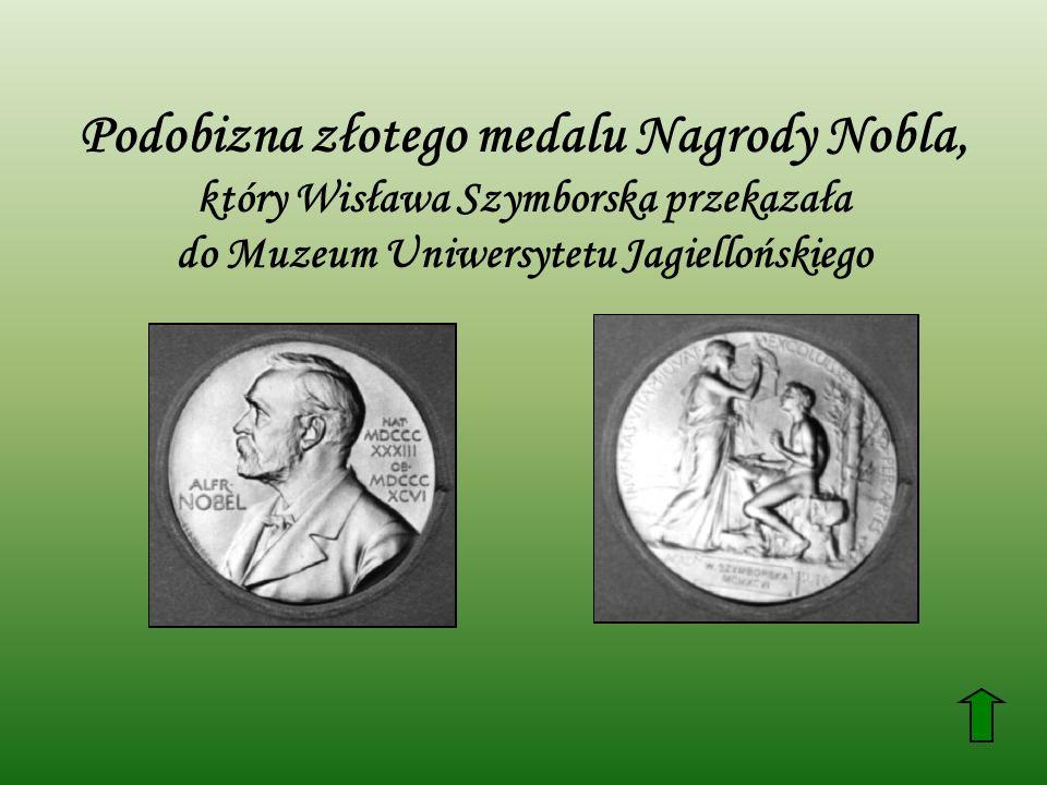 Podobizna złotego medalu Nagrody Nobla, który Wisława Szymborska przekazała do Muzeum Uniwersytetu Jagiellońskiego