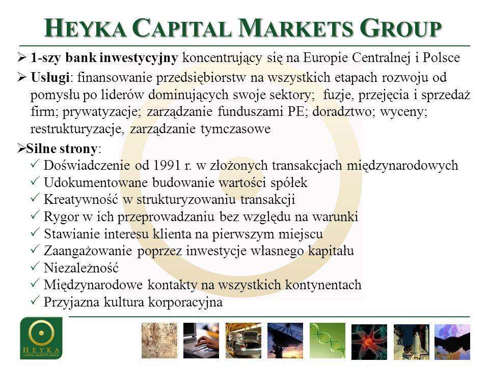1-szy bank inwestycyjny koncentrujący się na Europie Centralnej i Polsce Usługi: finansowanie przedsiębiorstw na wszystkich etapach rozwoju od pomysłu po liderów dominujących swoje sektory; fuzje, przejęcia i sprzedaż firm; prywatyzacje; zarządzanie funduszami PE; doradztwo; wyceny; restrukturyzacje, zarządzanie tymczasowe Silne strony: Doświadczenie od 1991 r.