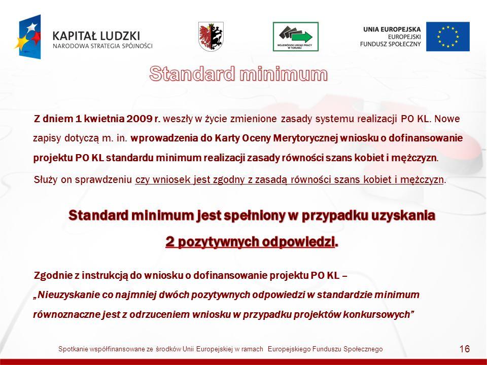 16 Spotkanie współfinansowane ze środków Unii Europejskiej w ramach Europejskiego Funduszu Społecznego