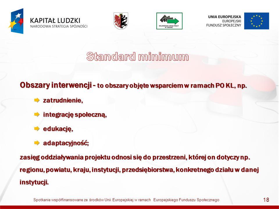 Obszary interwencji - to obszary objęte wsparciem w ramach PO KL, np. zatrudnienie, zatrudnienie, integrację społeczną, integrację społeczną, edukację