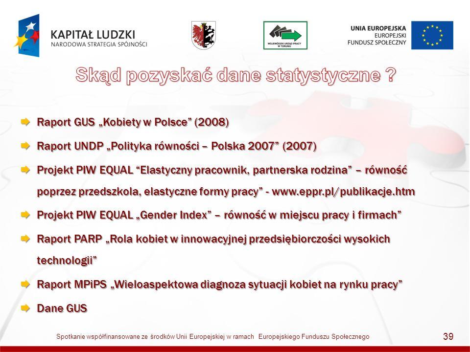 Raport GUS Kobiety w Polsce (2008) Raport GUS Kobiety w Polsce (2008) Raport UNDP Polityka równości – Polska 2007 (2007) Raport UNDP Polityka równości