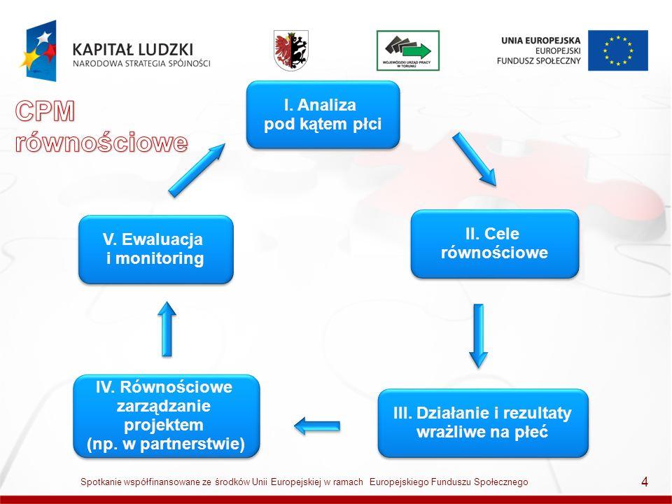 4 I. Analiza pod kątem płci V. Ewaluacja i monitoring IV. Równościowe zarządzanie projektem (np. w partnerstwie) IV. Równościowe zarządzanie projektem