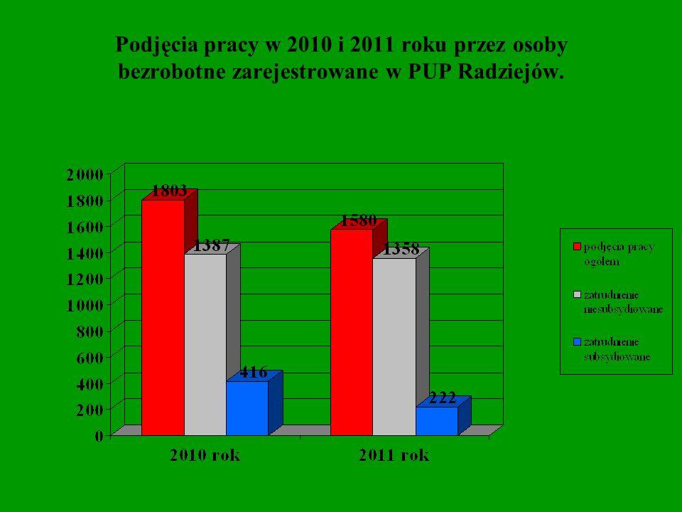 Podjęcia pracy w 2010 i 2011 roku przez osoby bezrobotne zarejestrowane w PUP Radziejów.