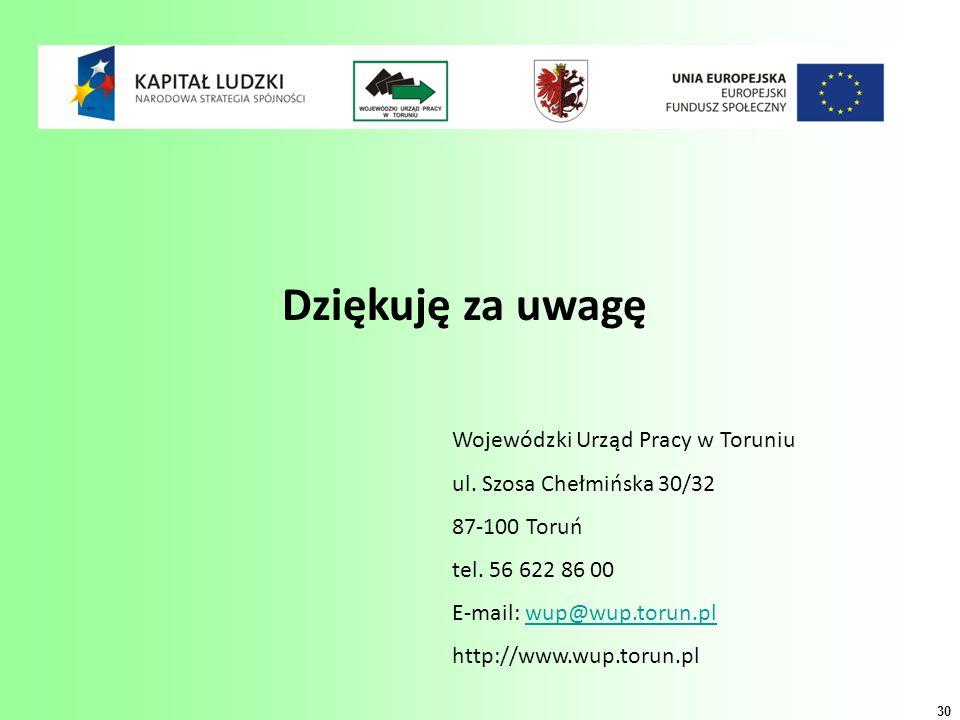 Dziękuję za uwagę Wojewódzki Urząd Pracy w Toruniu ul.