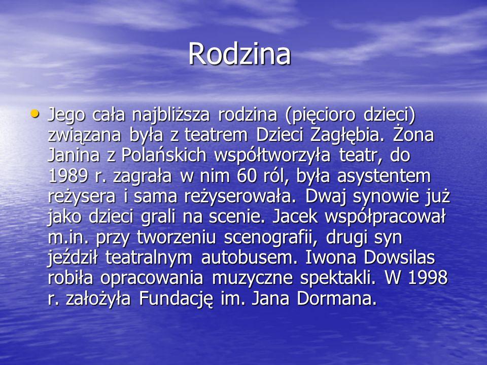 Rodzina Rodzina Jego cała najbliższa rodzina (pięcioro dzieci) związana była z teatrem Dzieci Zagłębia. Żona Janina z Polańskich współtworzyła teatr,