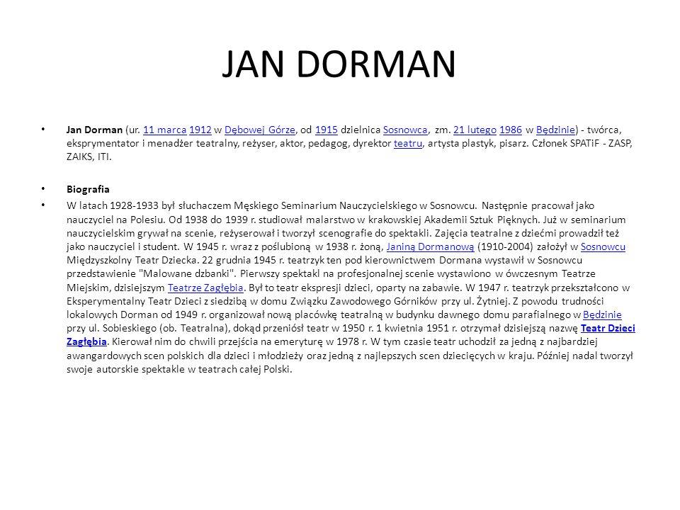 JAN DORMAN Jan Dorman (ur. 11 marca 1912 w Dębowej Górze, od 1915 dzielnica Sosnowca, zm.