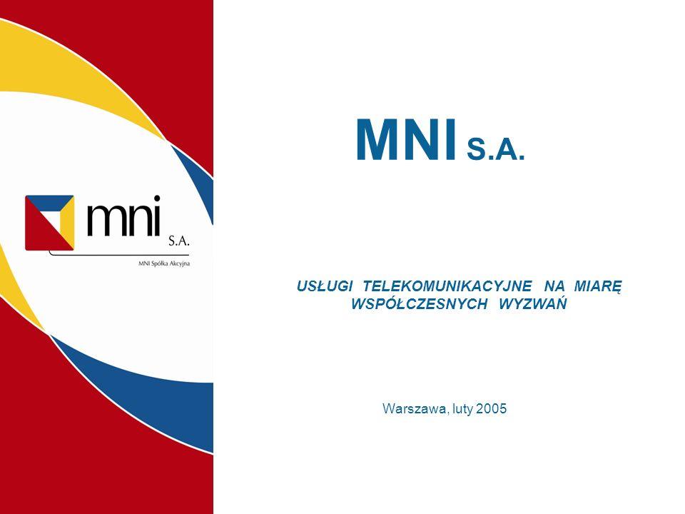 MNI S.A. Warszawa, luty 2005 USŁUGI TELEKOMUNIKACYJNE NA MIARĘ WSPÓŁCZESNYCH WYZWAŃ