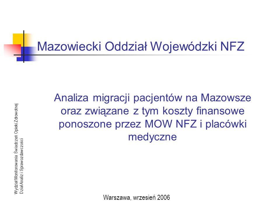 Mazowiecki Oddział Wojewódzki NFZ Wydział Monitorowania Świadczeń Opieki ZdrowotnejDział Analiz i Sprawozdawczości Warszawa, wrzesień 2006 Analiza migracji pacjentów na Mazowsze oraz związane z tym koszty finansowe ponoszone przez MOW NFZ i placówki medyczne