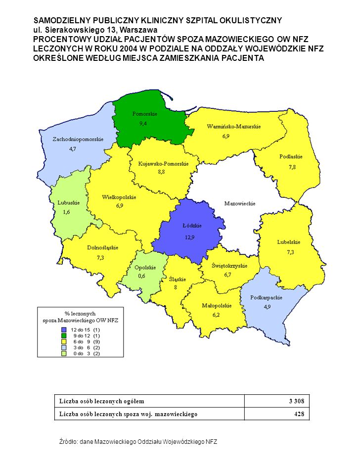 SAMODZIELNY PUBLICZNY KLINICZNY SZPITAL OKULISTYCZNY ul. Sierakowskiego 13, Warszawa PROCENTOWY UDZIAŁ PACJENTÓW SPOZA MAZOWIECKIEGO OW NFZ LECZONYCH