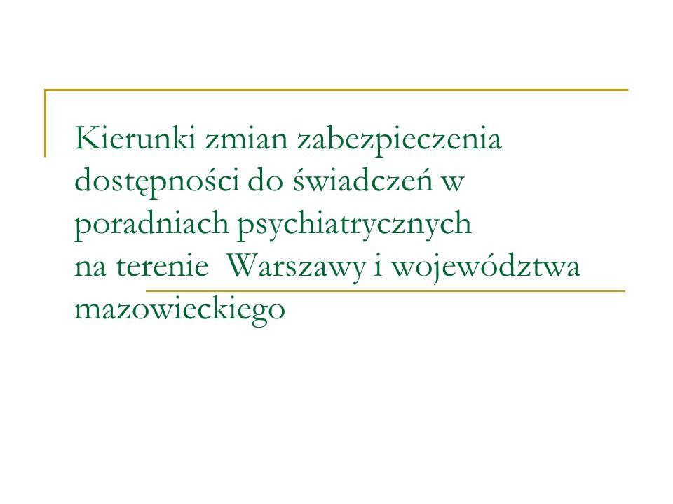 Kierunki zmian zabezpieczenia dostępności do świadczeń w poradniach psychiatrycznych na terenie Warszawy i województwa mazowieckiego