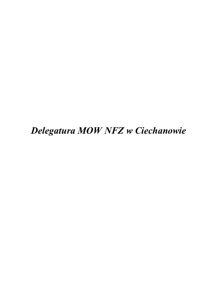 Delegatura MOW NFZ w Ciechanowie
