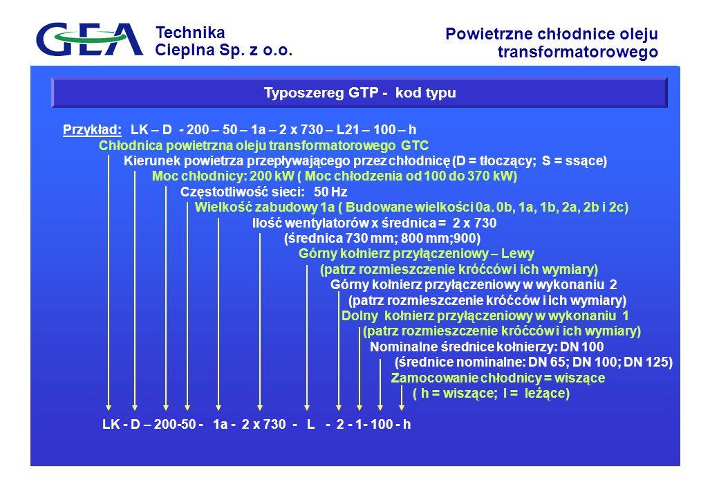 Technika Cieplna Sp. z o.o. Powietrzne chłodnice oleju transformatorowego Typoszereg GTP - kod typu Przykład: LK – D - 200 – 50 – 1a – 2 x 730 – L21 –