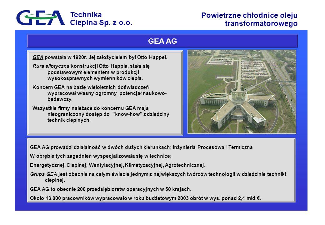 Technika Cieplna Sp. z o.o. Powietrzne chłodnice oleju transformatorowego GEA AG prowadzi działalność w dwóch dużych kierunkach: Inżynieria Procesowa