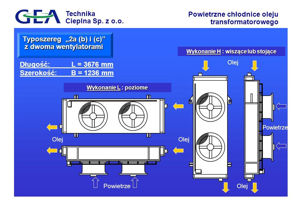 Technika Cieplna Sp. z o.o. Powietrzne chłodnice oleju transformatorowego Wykonanie H : wiszące lub stojące Wykonanie L : poziome Powietrze Typoszereg