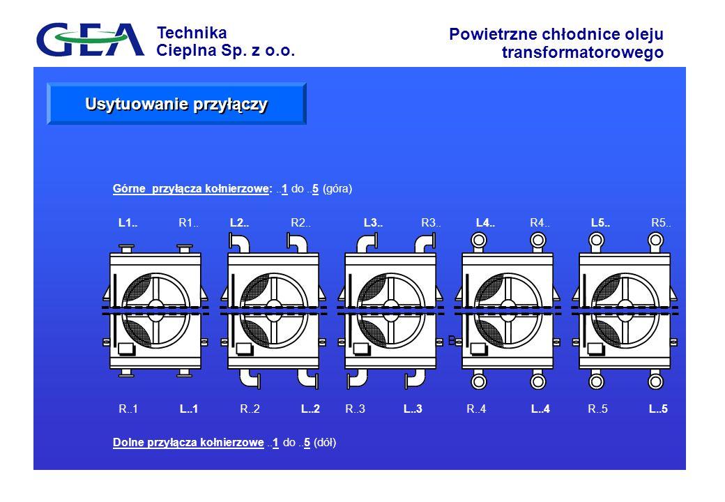 Technika Cieplna Sp. z o.o. Powietrzne chłodnice oleju transformatorowego AB Górne przyłącza kołnierzowe:..1 do..5 (góra) Dolne przyłącza kołnierzowe.