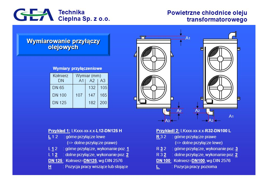 Technika Cieplna Sp. z o.o. Powietrzne chłodnice oleju transformatorowego Przykładl 2: LKxxx-xx-x.x-R32-DN100 L R 3 2 : górne przyłącze prawe (=> doln