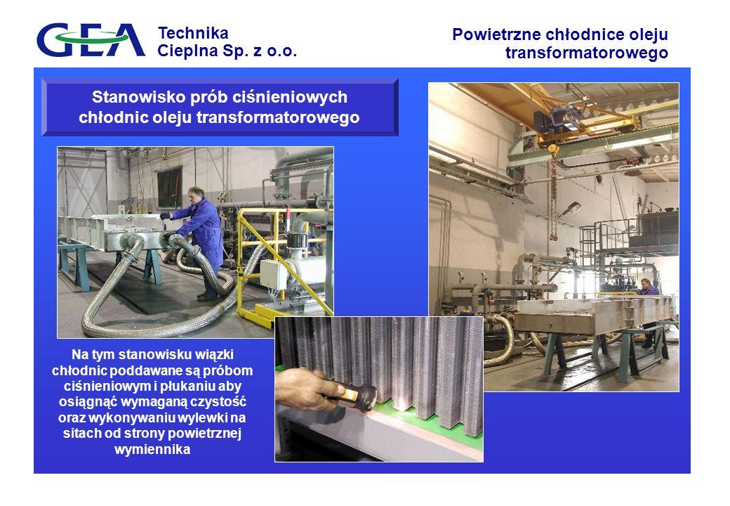Technika Cieplna Sp. z o.o. Powietrzne chłodnice oleju transformatorowego Stanowisko prób ciśnieniowych chłodnic oleju transformatorowego Na tym stano