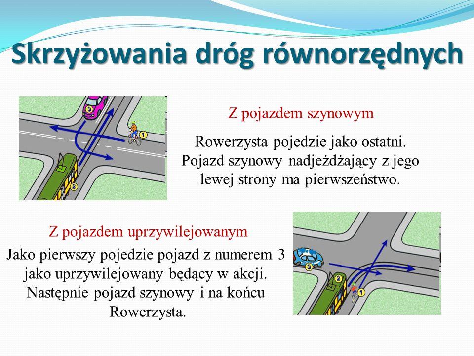 Skrzyżowania dróg równorzędnych Z pojazdem szynowym Rowerzysta pojedzie jako ostatni.