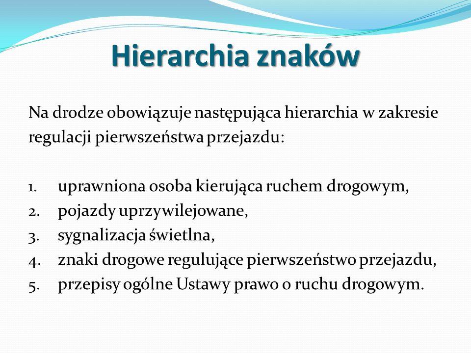 Hierarchia znaków Na drodze obowiązuje następująca hierarchia w zakresie regulacji pierwszeństwa przejazdu: 1.
