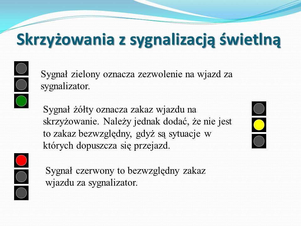 Skrzyżowania z sygnalizacją świetlną Sygnał zielony oznacza zezwolenie na wjazd za sygnalizator.