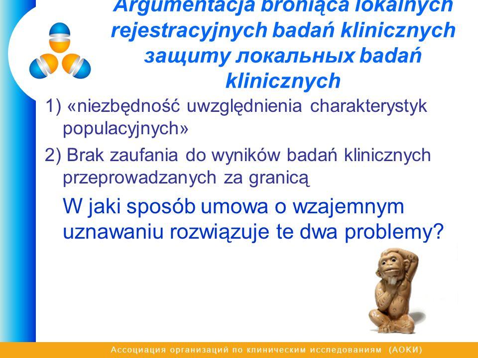 Ассоциация организаций по клиническим исследованиям (AOKИ) Argumentacja broniąca lokalnych rejestracyjnych badań klinicznych защиту локальных badań kl