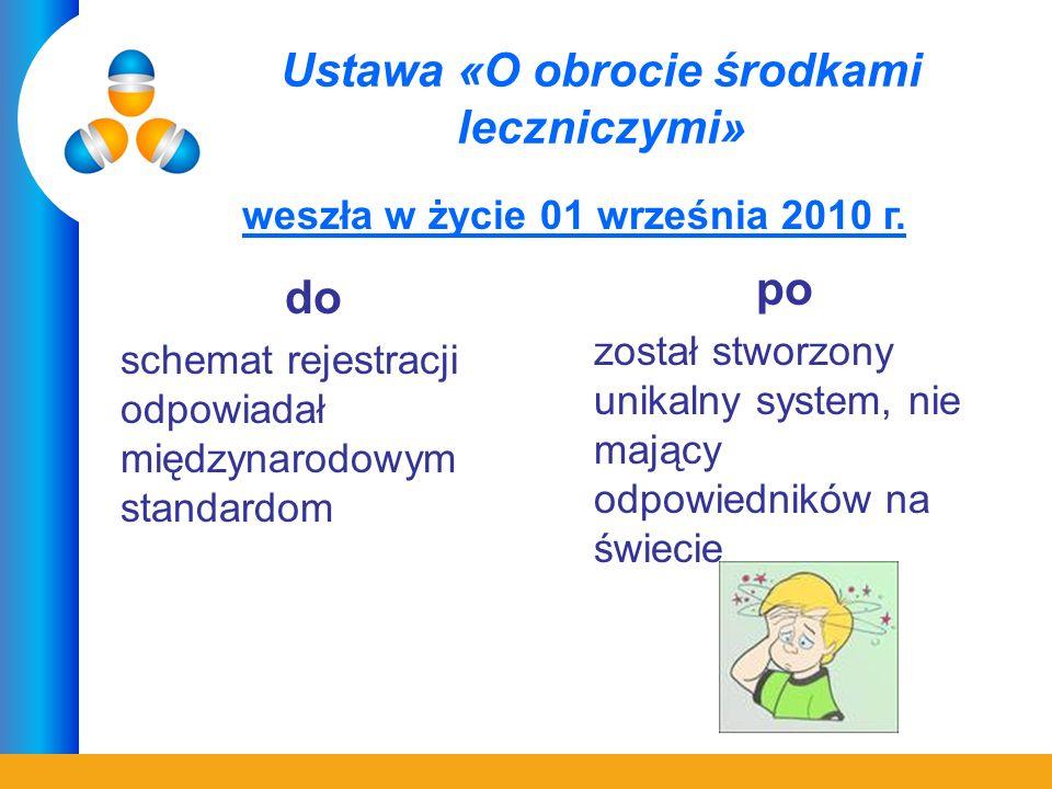 Ustawa «O obrocie środkami leczniczymi» do schemat rejestracji odpowiadał międzynarodowym standardom po został stworzony unikalny system, nie mający odpowiedników na świecie weszła w życie 01 września 2010 г.